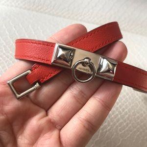 Hermès Rivale Double Tour Red Leather Bracelet